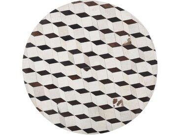 Tapis rond en cuir blanc et marron à motif 3D
