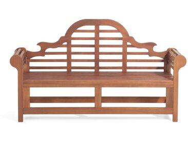 Banc de jardin ou terrasse 180 cm en bois d'acacia huilé avec dossier décoratif