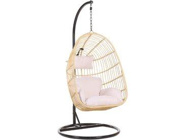 Fauteuil suspendu beige avec pied en acier noir et coussin d'assise inclus