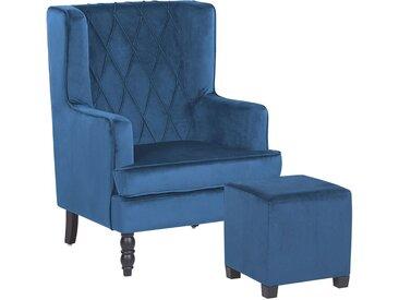 Fauteuil bergère en velours bleu avec coutures décoratives et repose-pieds