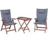 Ensemble de jardin table et 2 chaises pliantes en bois coussins bleus
