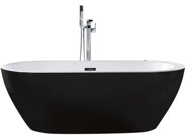 Baignoire centrale bain à remous en acrylique noir 170 cm avec lumière sous-marine à LED