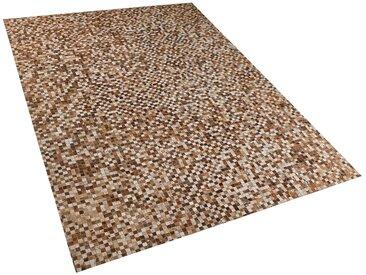 Tapis patchwork en peau de vache naturelle marron et beige 160 x 230 cm