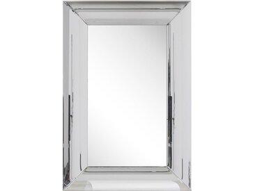 Miroir mural rectangulaire avec large cadre argenté
