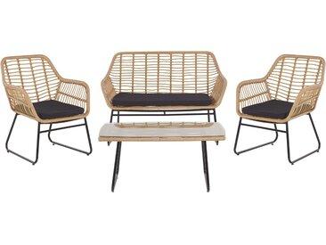 Salon de jardin - canapé 2 fauteuils et table basse en rotin et acier