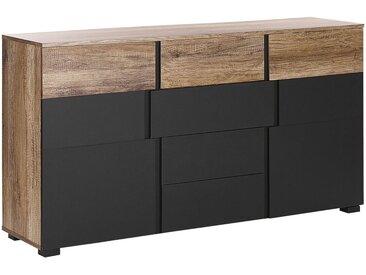 Commode design bicolore avec 2 compartiments à portes et 4 tiroirs