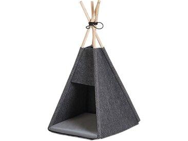 Niche pour chat en forme de tente tipi en feutre gris froncé
