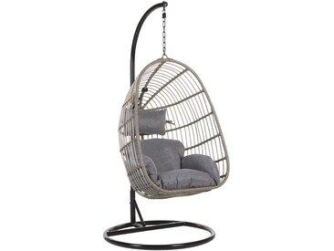 Fauteuil suspendu gris avec pied en acier noir et coussin d'assise inclus
