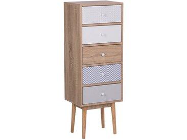 Commode chiffonnier 5 tiroirs design au style scandinave