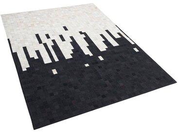 Tapis noir et crème en peau de vache 160 x 230 cm BOLU