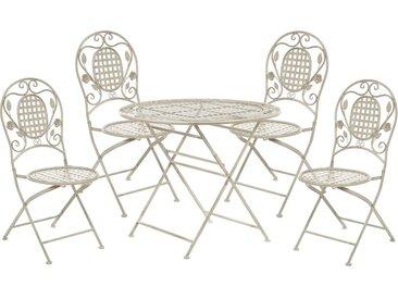 Ensemble de terrasse ou jardin table et 4 chaises pliantes blanc cassé vieilli