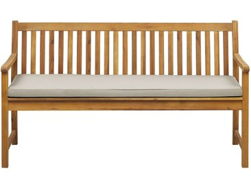 Banc de jardin 160 cm en bois d'acacia durable avec coussin beige