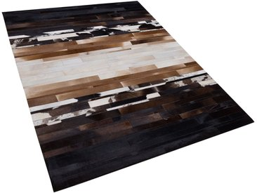 Tapis patchwork en cuir aux couleurs naturelles