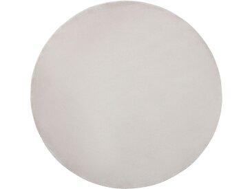 Tapis rond gris clair en soie artificielle