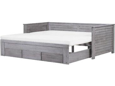 Lit gigogne en bois gris 90 x 200 cm CAHORS