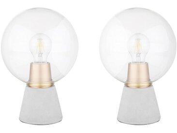 Lot de 2 lampes de table en béton gris avec abat-jours en verre transparent