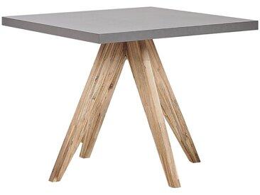 Table de repas de jardin en fibre-ciment gris avec pieds en bois d'acacia clair