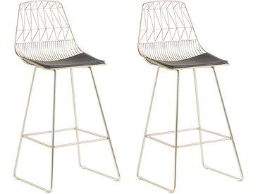 Lot de 2 chaises de bar métalliques dorées