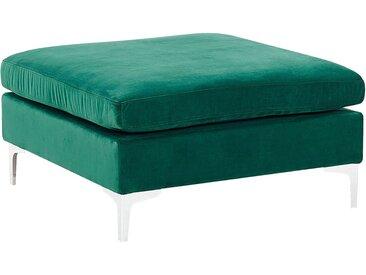 Pouf ottoman repose-pieds en velours vert avec pieds argentés