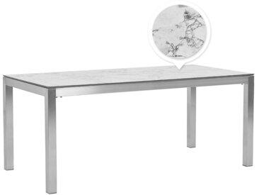 Table de jardin avec plateau effet marbre et structure en acier