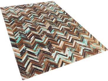 Tapis patchwork marron beige et bleu en cuir 140 x 200 cm AMASYA