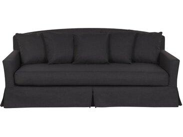 Canapé 3 places noir rembourré avec housse amovible