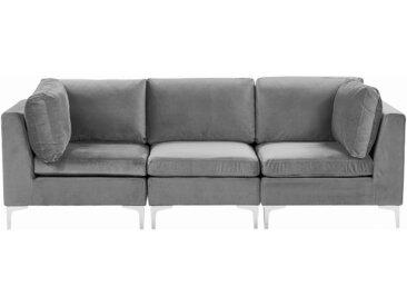 Canapé modulable composé de 3 sièges en velours gris avec pieds argentés
