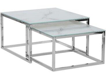 Lot de 2 tables basses modernes avec plateau imitation marbre blanc
