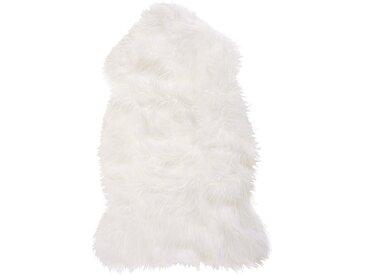 Tapis en fourrure artificielle blanche au style rustique