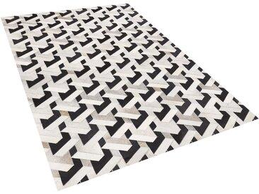 Tapis en peau de vache naturelle noir et gris à motif 3D 140 x 200 cm