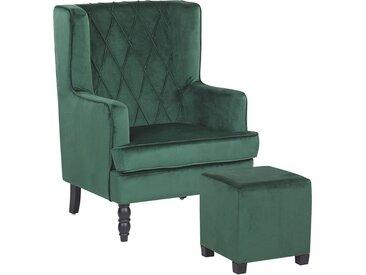 Fauteuil bergère en velours vert avec coutures décoratives et repose-pieds