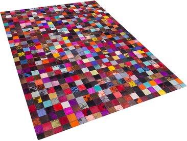 Tapis patchwork multicolore en cuir 160 x 230 cm ENNE