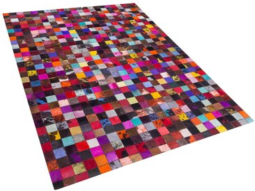 Tapis en cuir patchwork multicolore