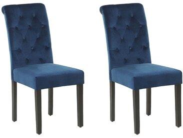 Lot de 2 chaises de salle à manger velours capitonné bleu foncé avec heurtoir