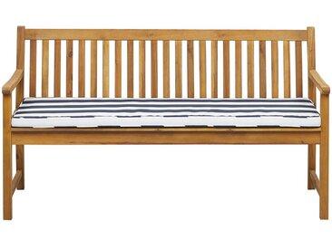 Banc de jardin 160 cm en bois d'acacia durable avec coussin bleu marine