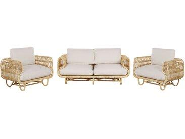 Salon bas de jardin canapé et 2 fauteuils pour intérieur et extérieur