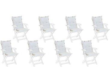8 coussins moelleux en tissu blanc cassé anti-UV pour chaises de jardin