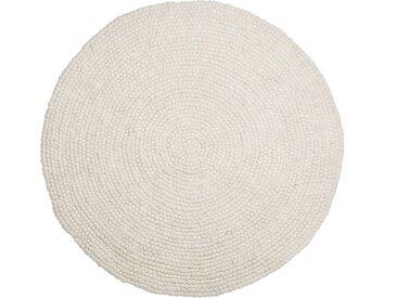 Tapis rond en feutre de laine couleur crême
