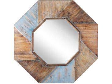 Miroir mural décoratif octogonal avec cadre en bois effet vieilli