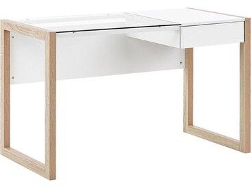 Bureau design au style moderne avec plateau en verre et tiroir