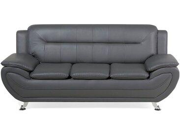 Canapé 3 places en simili-cuir gris LEIRA