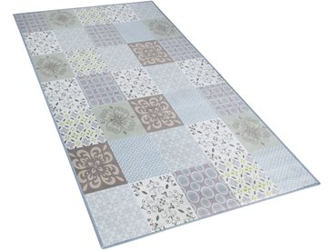 Tapis 80 x 150 cm en tissu patchwork mosaïque multicolore