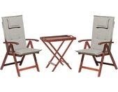 Ensemble de jardin table et 2 chaises pliantes en bois coussins gris beige