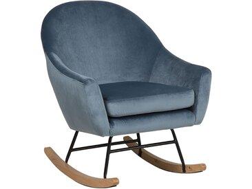 Fauteuil à bascule moderne en velours bleu