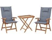 Ensemble de jardin table et 2 chaises pliantes en bois avec coussins bleus