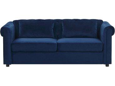 Canapé-lit de type chesterfield en velours bleu foncé