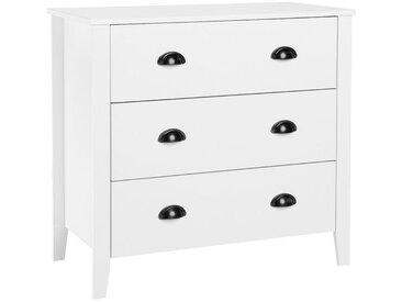 Commode blanche pratique avec trois tiroirs spacieux