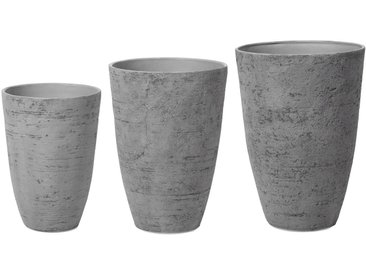 Lot de 3 cache-pots en pierre gris en forme de vase