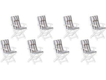 8 coussins moelleux en tissu beige et bleu anti-UV pour chaises de jardin