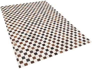 Tapis patchwork à carreaux en peau de vache marron et beige 140 x 200 cm